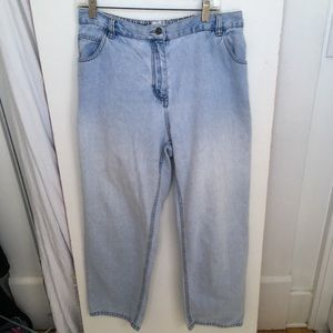 Main Street blues, light wash mom jeans.